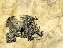 Nosorożec...Ja... Śmierć... dezintegracje, ver b, c  technika mieszana, gniecenie, rysunek, inkografia 50 cm x 70cm / 1984